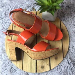 Franco Sarto Orange Cork Heels